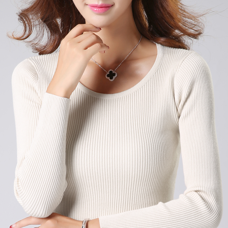Knitted bottomed sweater womens sweater fall winter 2019 fashion versatile slim bottomed sweater round neck sweater womens sweater