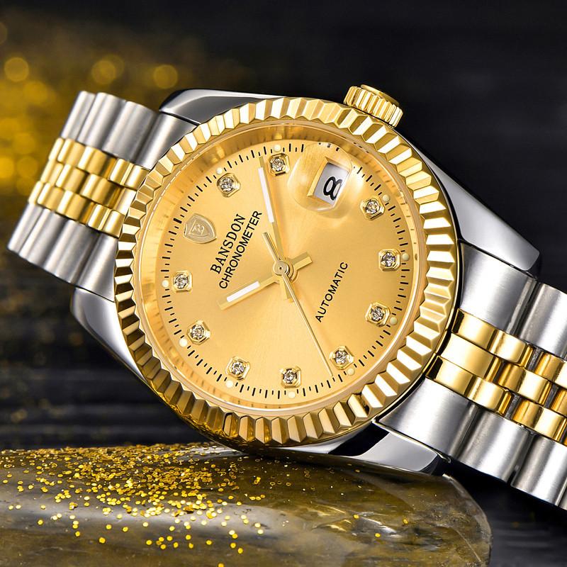 Genuine bonshidu mens watch automatic mechanical watch pure steel luminous waterproof gold mens watch mens gold watch