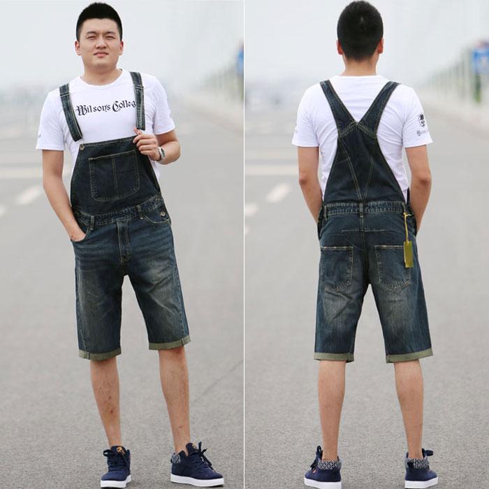 2016夏季男式新款牛仔背带中裤男士韩版潮装连体裤五分裤大码短裤