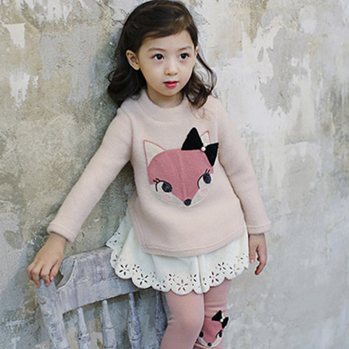 New Korean girls 2018 autumn and winter childrens cartoon little fox suede skirt middle childrens princess skirt
