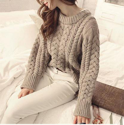 Sweater womens Pullover winter spring Korean version thick needle twist short high waist round neck thickened thick thread bottomed sweater