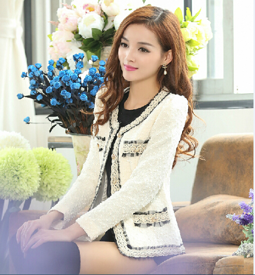 2021 spring and Autumn New Korean long sleeve slim fit short coat womens small fragrant wind woolen spring and autumn small suit women