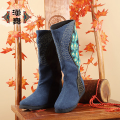 Chinese dance authentic embroidery in tube in autumn boots national wind ventilation layer high women's boots at the end of Feng Ling