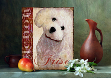 American retro do old shepherd dog bulldog your golden retriever iron iron hang a picture to can provide customized painting themes