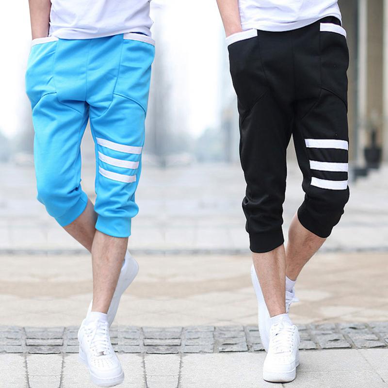 薄款 褲 男士七分褲 修身小腳褲男夏天中褲 馬褲