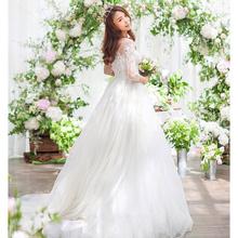 新娘结婚蕾丝一字肩显瘦修身婚纱