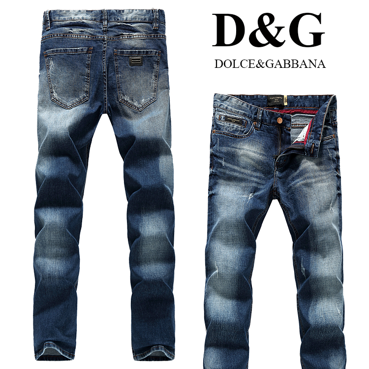 Мужские джинсы DG осенью 2015 простых мужчин в Европе и тонкие прямые ноги темные джинсы штаны талии брюки