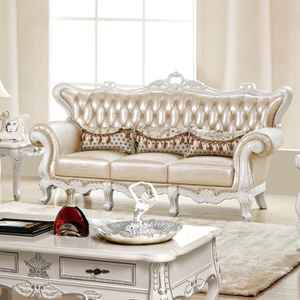 包邮欧式真皮沙发 韩式法式古典实木雕花沙发 客厅真皮沙发