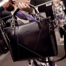 The new big bag in the fall and winter of 2015 Fashion pure color briefcase splicing Single shoulder bag, oblique ku bag