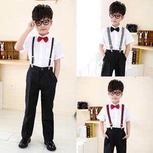 男童表演套装儿童背带西裤短袖白色衬衫西装黑色长裤花童演出服