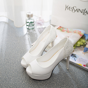 2015 spring and summer new fish head high heels fine with a single shoe nightclub waterproof white wedding shoes crystal sandals