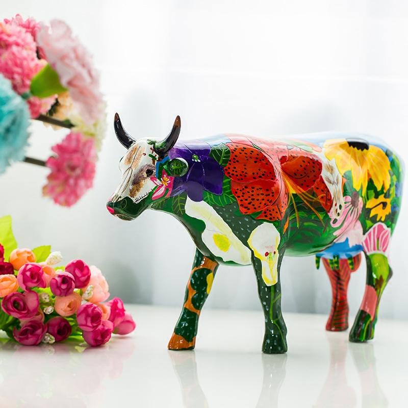 罗曼艺术手绘牛创意家居摆件cowparade�m花牛艺术牛树脂顺丰包邮