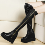 Increased shield Fox flat thick-soled boots women's side zip stretch skinny leg with knee tall boots winter new style