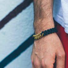 美国原创潮牌LUSTLTD.古巴黑金色钛钢环保硅胶麻花能量手链手环