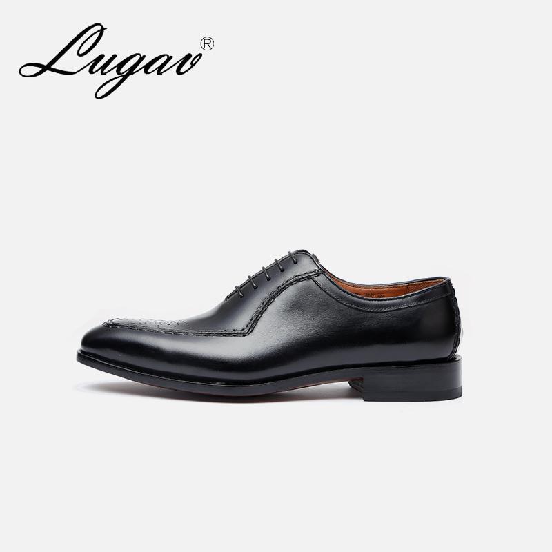 手工定制 LUGAV鹿戈威 商务休闲固特异雕花皮鞋绅士进口牛皮男鞋