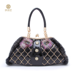 Leather rabbit fur leather handbag Luxury Plush package winter fat Tanner Schock for 2015 new female baodan shoulder bag