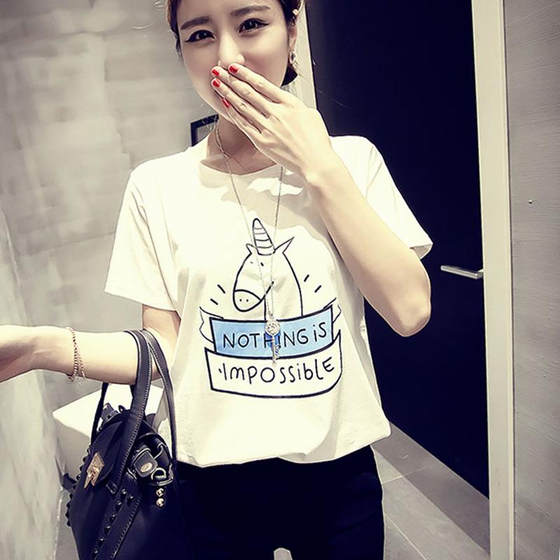 2016 лета новый Единорог письма напечатаны свободные короткий рукав t рубашку t рубашка в корейской версии головы девушки