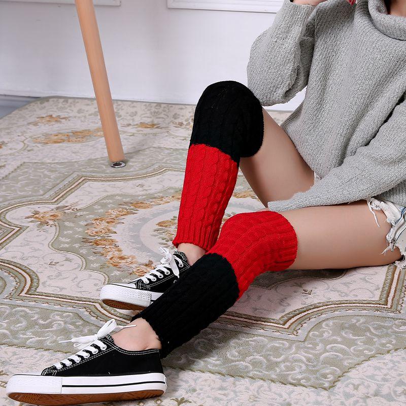 花潮花汐加厚保暖宽松堆堆毛线袜套秋冬款女士靴套中筒过膝护腿套