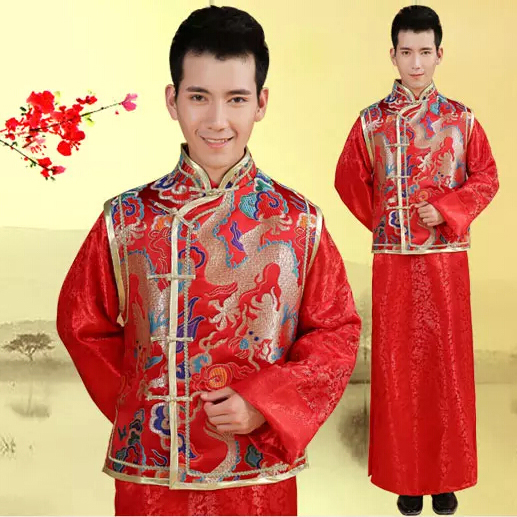 0915b6b066f Groom Men Xiu Chinese wedding dress winter long-sleeved red tunic dress  costume costume national. Loading zoom
