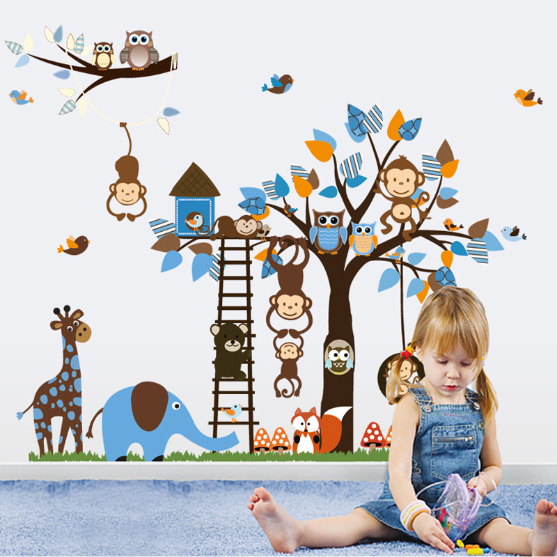 寶寶兒童房動物樂園卡通牆貼男女孩幼兒園貼紙畫牆紙自粘臥室溫馨