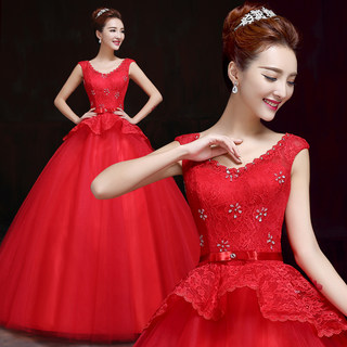 Bride wedding gowns 2015 new Korean fashion plus size wedding dresses with shoulder studded snap autumn/winter
