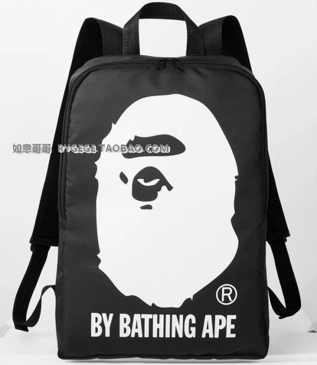 日本杂志款bape a bathing ape 猿人头猴子双肩包轻便旅游包0.2