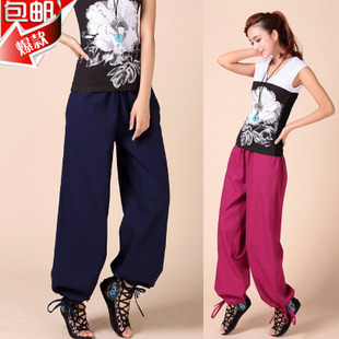 Cotton linen straight casual trousers wide leg pants yoga pants loose big yards national wind men and women the same paragraph