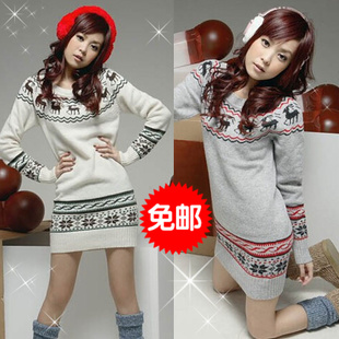 2015 Hitz Korean version of loose sweater large code base shirt long section hedging sweater coat female buttocks