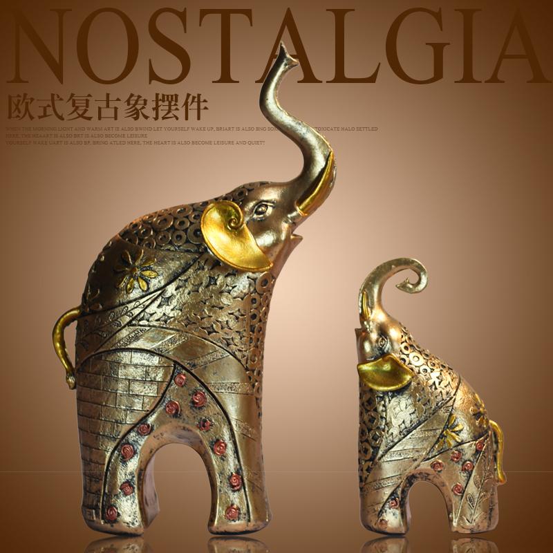 歐式複古大象招財 裝飾品擺件客廳電視櫃玄關酒櫃擺設結婚