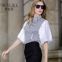New dream parma 2015 summer European striped shirt bowknot hubble-bubble sleeve splicing coat female xia