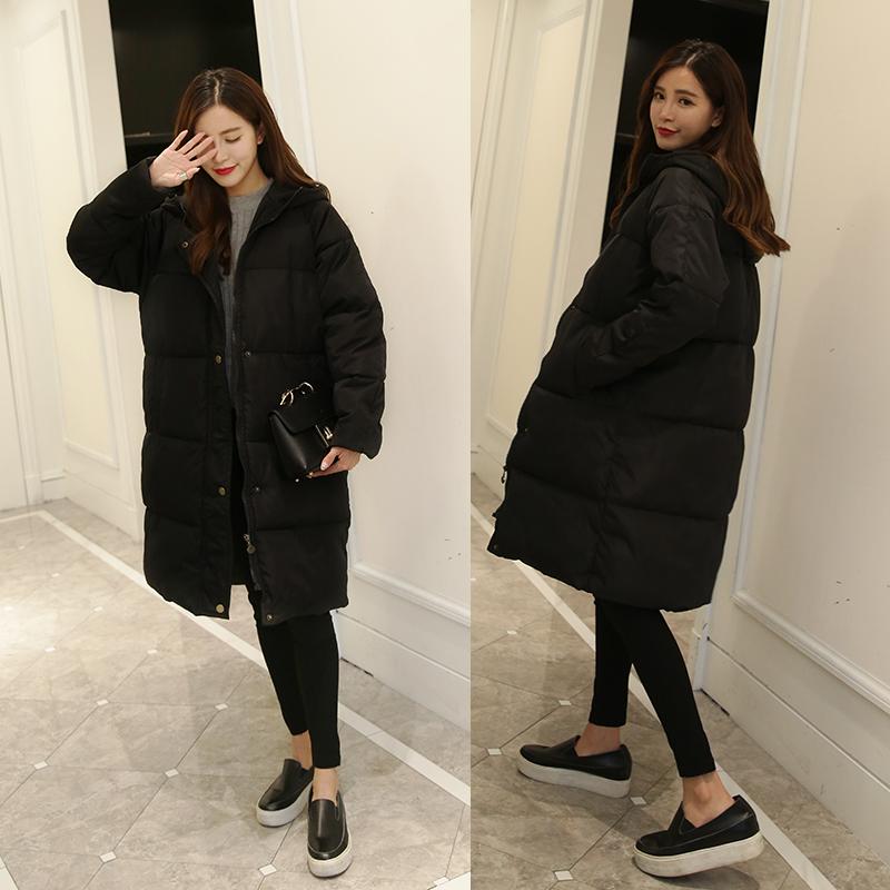 Длинные женские пальто размер студентов в Южной Корее хлеб для 2016 хлопок колена мягкие зимние пальто женщин вниз износа