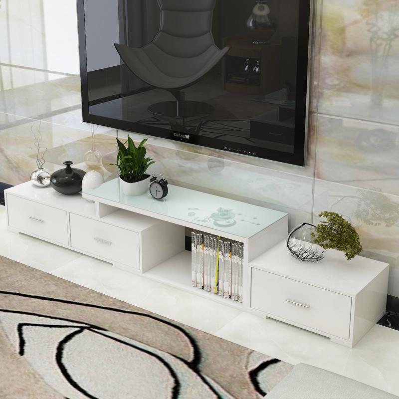 卓禾伸縮電視櫃簡約 鋼化玻璃歐式電視機櫃小戶型客廳茶幾