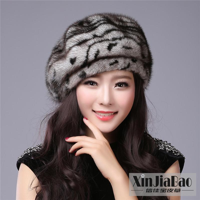 新款水貂皮草帽子贝雷帽女冬整张貂皮毛帽子八角蓓蕾礼帽保暖护耳
