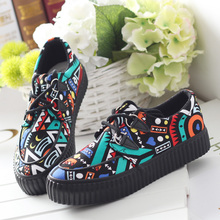 Universal low fall 2015 printing for large base canvas shoes female han edition students with sports leisure platform shoes
