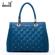 Mall with Greek road leather women bag handbag autumn 2015 rhombic new rivet hand shoulder bag