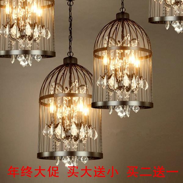 美式复古铁艺别墅楼梯咖啡厅服装店鸟笼水晶吊灯餐厅客厅创意酒吧