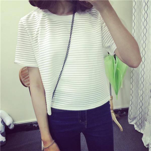 Летние небольшие свежие новые перспективы корейской версии полосатый короткий рукав старинный дикий рукав полосой t-base рубашка женщин