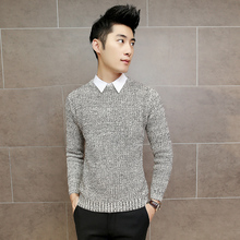 City boy contracted fashion long-sleeved sweater coat pure color cultivate one's morality pullovers knitwear