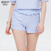 Fine bi Linda Shaheen 2015 spring women's casual pants Korean version of the ruffled high waist slim fit Plaid woven shorts