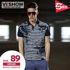 Viishow men's short sleeve men's polo shirt slim fit jacket in summer street fashion stripes sahagin Paul cotton shirt