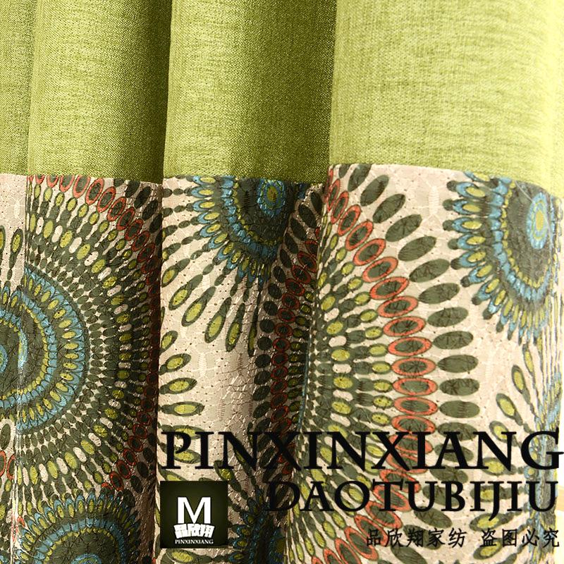 Сплошной цвет хлопка шить вышивка континентальной занавес ткани тени высокого класса пользовательских Зеленая гостиная спальня шторы