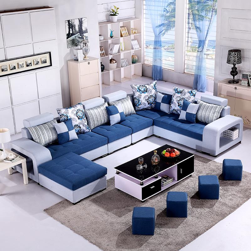 曼琪蘭布藝沙發 客廳 簡約貴妃大小戶型沙發可拆洗轉角布沙發