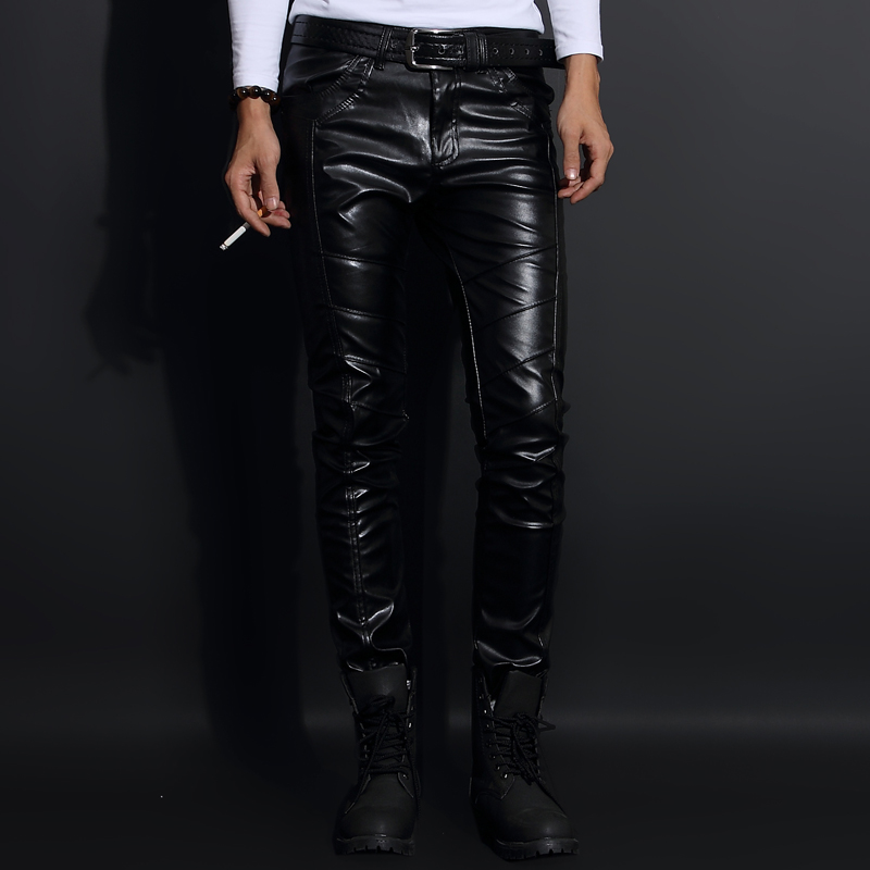 Yuppie hairdresser mens leather pants Korean fashion slim winter Plush little feet motorcycle leather pants mens tights