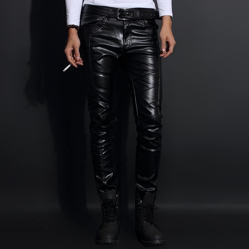 Yuppie hairdresser mens leather pants Korean fashion slim winter Plush little feet motorcycle leather pants mens tights