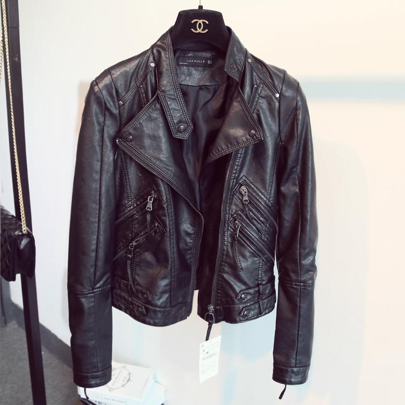 2016 годы размещения новый Европейский стиль кожа женщин тонкий тощий Пу кожа обрезается куртка куртка мотоцикла