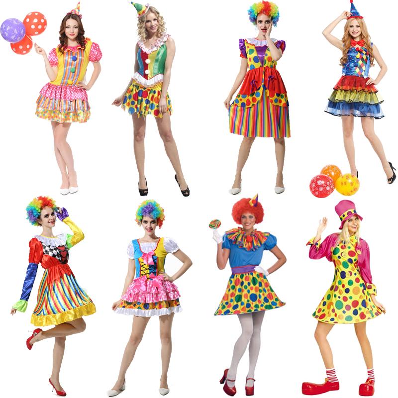万圣节服装化装舞会舞台表演演出服饰成人小丑装扮套装女小丑衣服