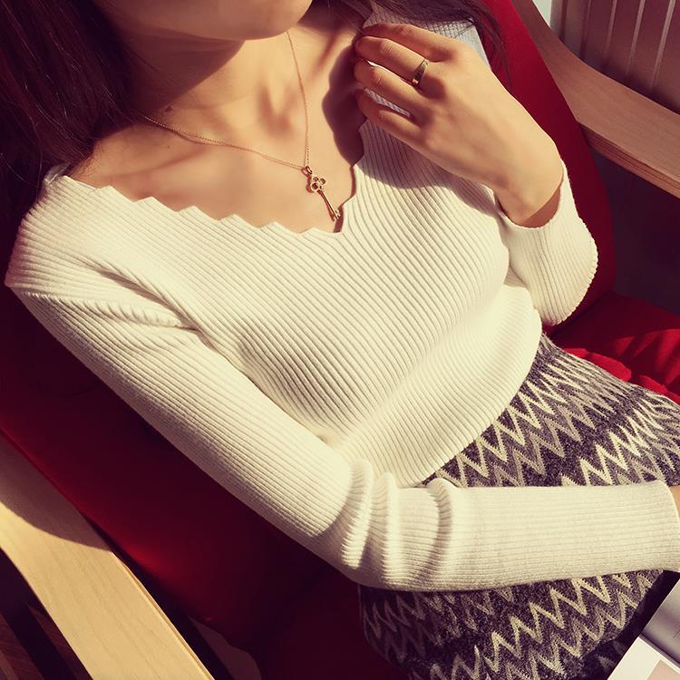-Осенью 2015 новых корейских женщин, окрашены волна v шеи диких культивирования базовый свитер вязать Плоская база