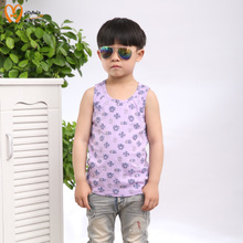 2015 children summer leisure vest boy cotton round collar summer wear floral new class B big child vest
