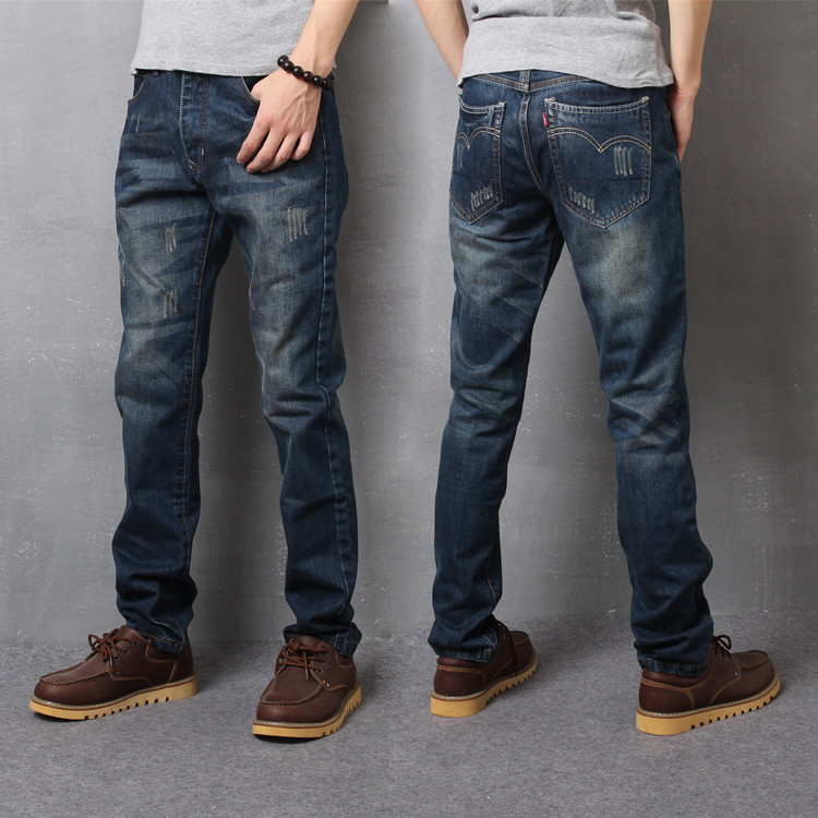Denim trousers mens straight 42 loose and fat plus size 260 youth 44 extra large 200 Jin 46 3 feet 3