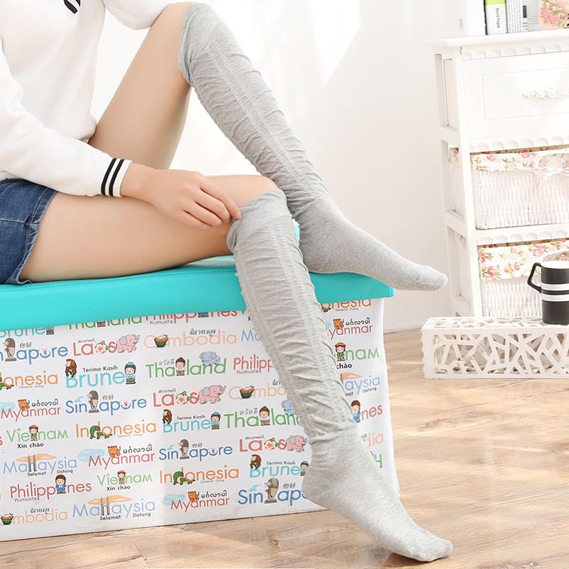 花潮花汐日系甜美堆堆中筒袜春秋打底袜女袜子学院风原宿袜靴袜